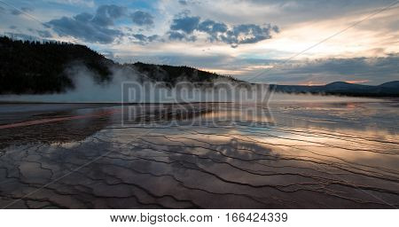 Grand Prismatic Spring at sunset in Yellowstone National Park in Wyoming USA