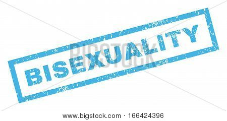 Bisexuality text rubber seal stamp watermark. Caption inside rectangular banner with grunge design and dirty texture. Inclined vector blue ink emblem on a white background.