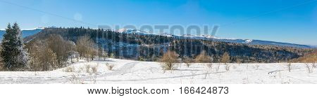 winter landscape in mountains a sunny day