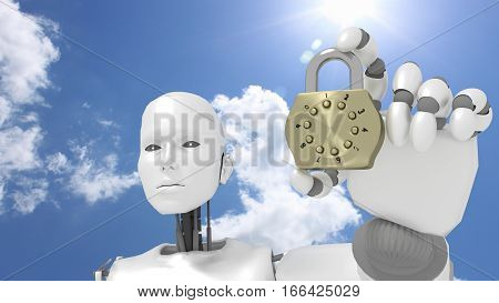 Female robot in front of sunny sky holds a golden padlock cybersecurity concept 3D illustration