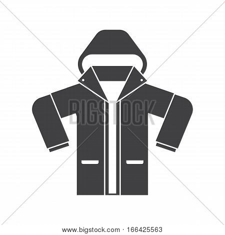 Silhouette illustration of snowboarding or skiing anorak. Sport jacket vector icon. Active lifestyle outerwear in outline design.