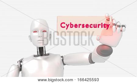Female robot holding a glass sign with the words cybersecurity isolated on white 3D illustration