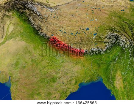 Nepal From Space In Red