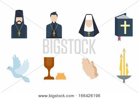 Christianity religion flat icons vector. Illustration of traditional holy candle silhouette. praying people character design and faith priest church architecture.