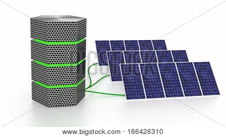 Green glowing server connected to three solar panels isolated on white energy efficient computing concept 3D illustration