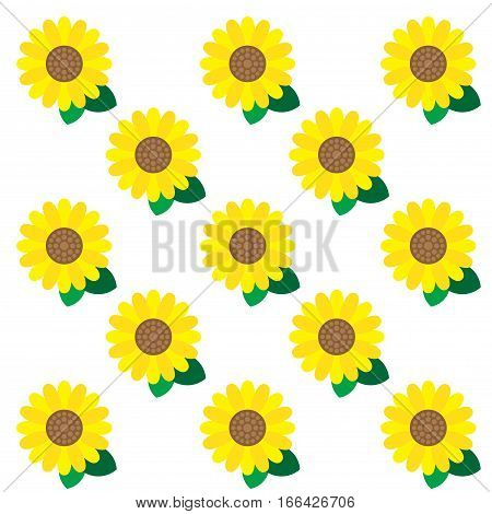 YELLOW SUNFLOWER PATTERN Simply graphic yellow sun flower with green leaves arranged in pattern on the white background.