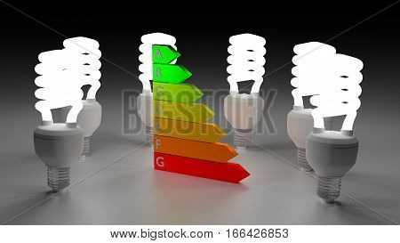 Six energy saving bulbs circled around an energy efficiency graph 3D illustration