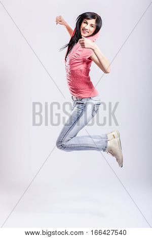 Attractive Young Girl Jumping