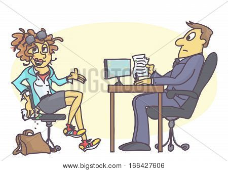 Cartoon illustration with sloppy young woman on job interview, eating sandwich, wearing dirty and wrinkled clothing, behaving rude and unprofessional.