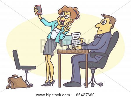 Funny carton of woman acting inappropriate and unprofessional at job interview, fooling around, making a selfie picture with mobile phone.
