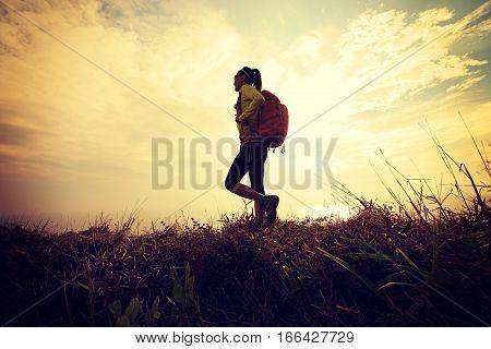 successful hiker walking on seaside mountain peak