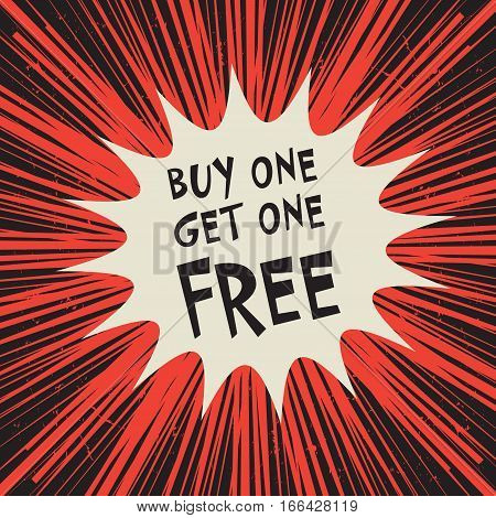 Comic explosion business concept with text Buy One Get One Free vector illustration