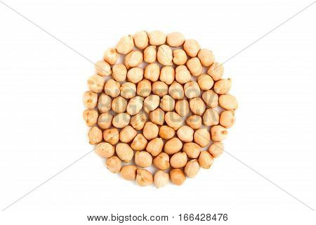 Chickpeas isolated closeup on a white background.