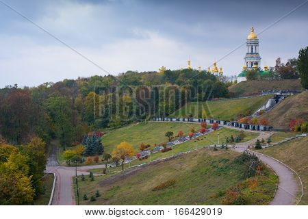 Autumn landscape in Kiev with a view of the Kiev-Pechersk Lavra.
