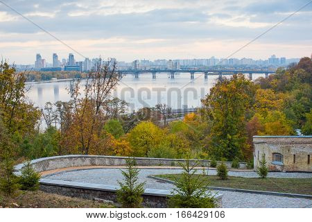 Autumn Kiev overlooking the Dnieper and the new residential areas
