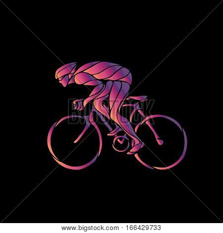Professional cyclist in a bike race. Color silhouette on black background. Vector illustration
