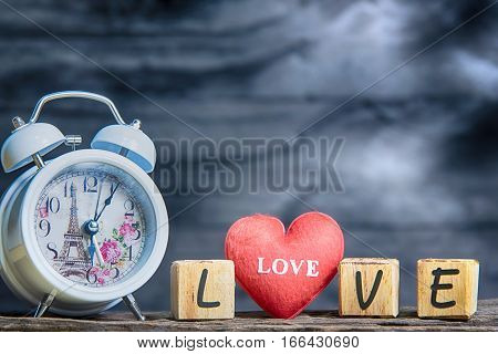 Letters Spelling Love. Red Heart And Wooden Letters Spelling Love