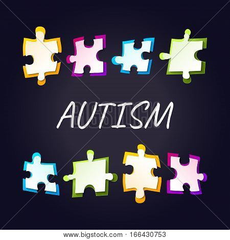 Autism awareness poster with puzzle pieces on black background. Solidarity and support symbol. Medical concept. Vector illustration.