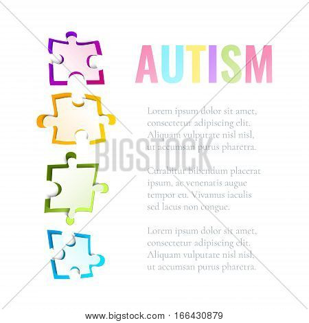 Autism awareness poster with puzzle pieces on white background. Solidarity and support symbol. Medical concept. Vector illustration.