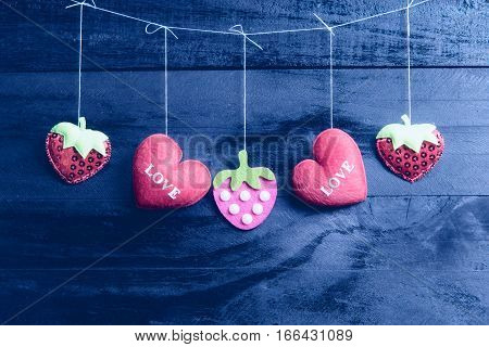 Valentines Day Hearts On Vintage Wooden Background