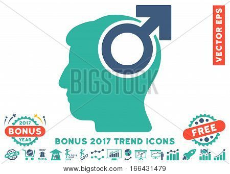Cobalt And Cyan Intellect Potency icon with bonus 2017 trend images. Vector illustration style is flat iconic bicolor symbols, white background.
