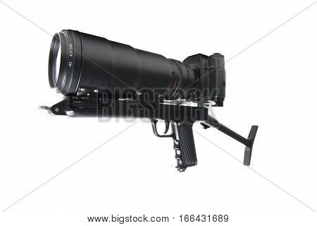 The camera is actually held in the same manner as a rifle on white background