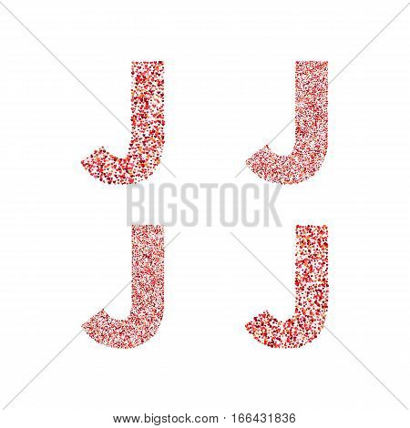 Alphabet letter J with red heart on Valentine's Day. Valentine`s Day Alphabet of Hearts. Love ABC