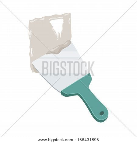 Plastered wall with a putty knife. Spatula repair tool. Spackling or paint instruments. Support service vector illustration isolated on white.