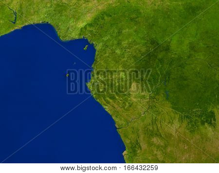 Gabon From Space In Red