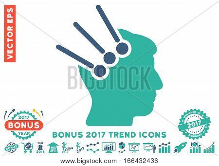 Cobalt And Cyan Neural Interface Connectors pictograph with bonus 2017 trend symbols. Vector illustration style is flat iconic bicolor symbols, white background.