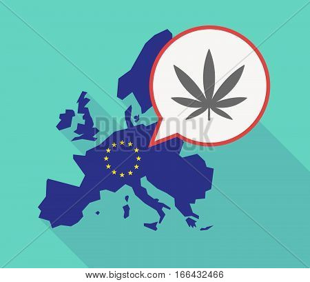 Long Shadow Eu Map With A Marijuana Leaf