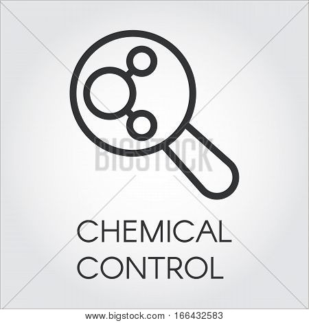 Black linear icon of chemical control. Chemistry, experiments, research, medicine concept. Logo pixel perfect 48x48 px. Simple label for your design needs. Vector contour pictograph