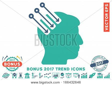 Cobalt And Cyan Neuro Interface pictogram with bonus 2017 trend icon set. Vector illustration style is flat iconic bicolor symbols, white background.