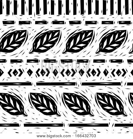 Black and white linocut leaves geometric borders seamless pattern, vector background