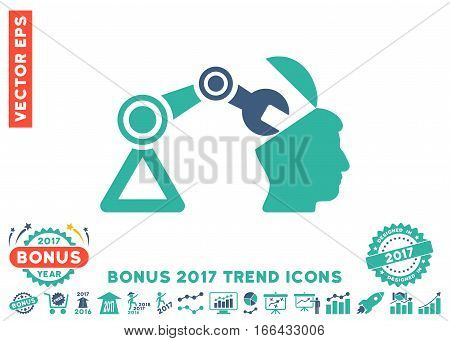 Cobalt And Cyan Open Head Surgery Manipulator icon with bonus 2017 trend clip art. Vector illustration style is flat iconic bicolor symbols, white background.