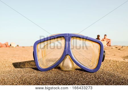Diving Mask On The Sand Beach