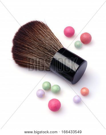 Brush For Make Up And Multicoloured Corrector Face Powder Balls