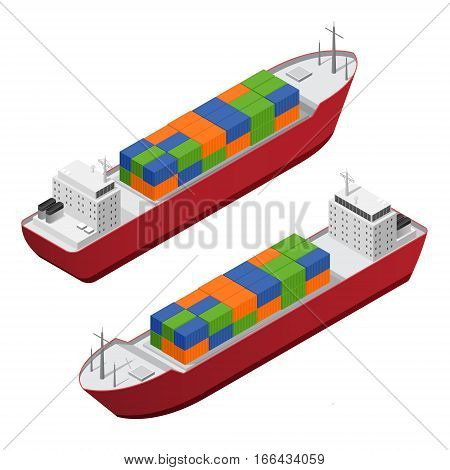 Barge Ship Set with Color Freight Containers Isometric View Concept Cargo Transportation. Vector illustration