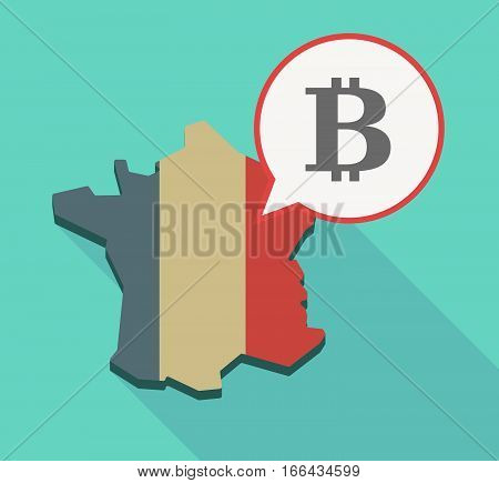 Long Shadow France Map With A Bit Coin Sign