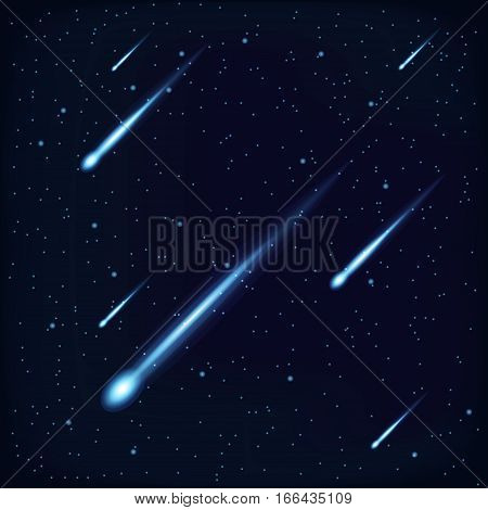 Night Sky with Falling Stars, Meteor or Comet on Cosmos Background. vector poster