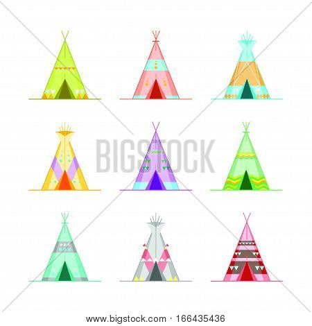 Cartoon Wigwams or Tepees Icons Set Native Indian Home Flat Design Style. Vector illustration