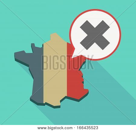 Long Shadow France Map With An X Sign