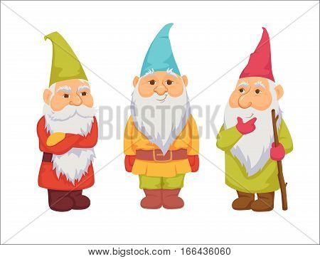 Gnomes. Funny, thoughtful and angry dwarf. Fairy tale. Fantastic character set. Magical stories vector clip art. Cute garden decorations