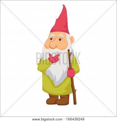 Gnomes. Thoughtful dwarf. Fairy tale. Fantastic character set. Magical stories vector clip art. Cute garden decorations