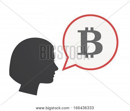 Isolated Female Head With A Bit Coin Sign