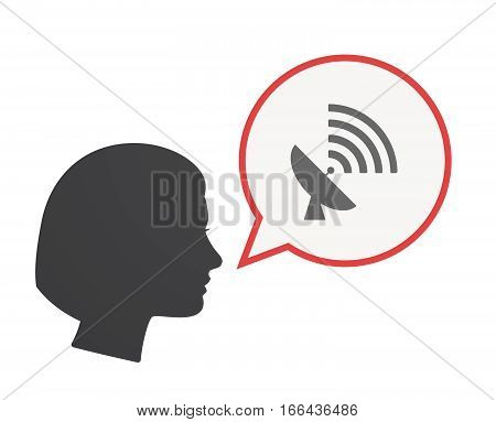 Isolated Female Head With A Satellite Dish