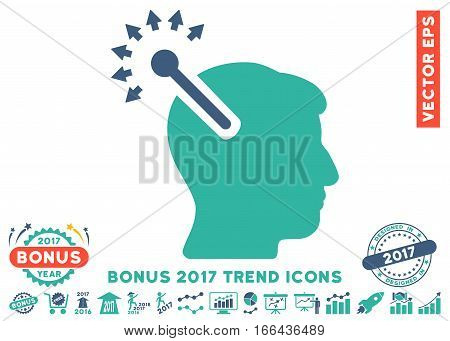 Cobalt And Cyan Optical Neural Interface pictograph with bonus 2017 trend pictures. Vector illustration style is flat iconic bicolor symbols, white background.