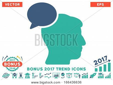 Cobalt And Cyan Person Idea pictograph with bonus 2017 trend pictograms. Vector illustration style is flat iconic bicolor symbols, white background.