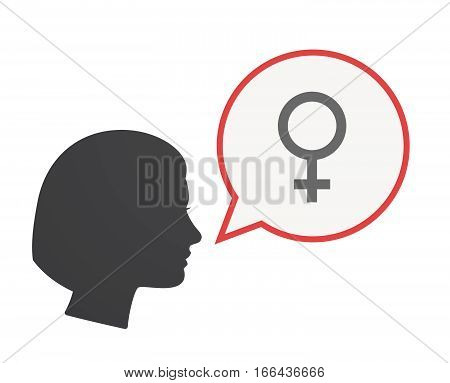 Isolated Female Head With A Female Sign