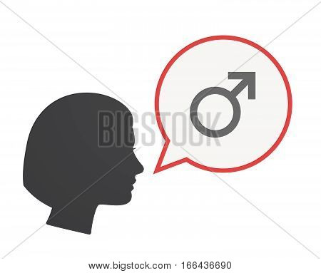 Isolated Female Head With A Male Sign